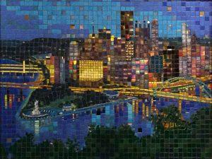 Pittsburgh Cityscape Mosaic sans frame