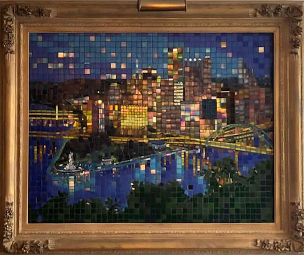 Pittsburgh Cityscape Mosaic by artist Terry Broderick