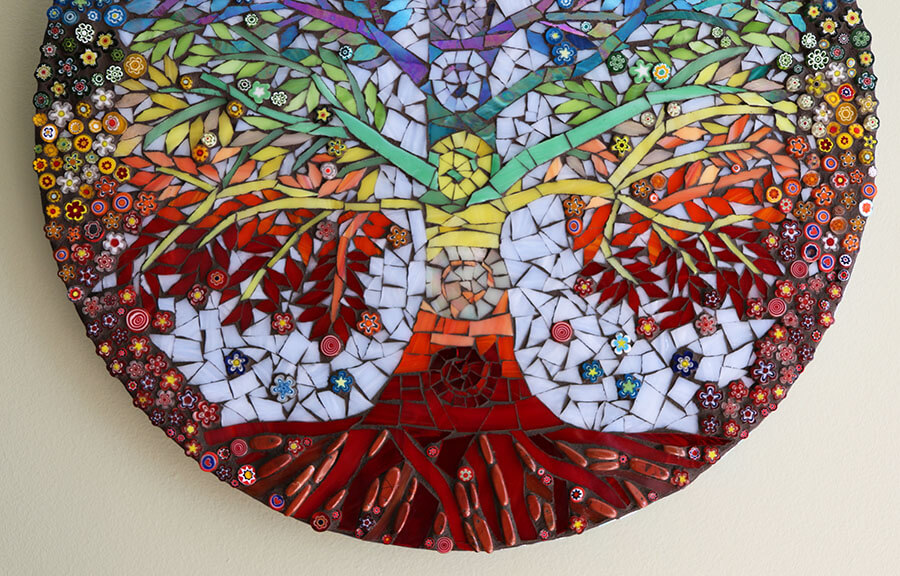 Detail from Chakra Tree of Life Mosaic by Betty Ackerman.