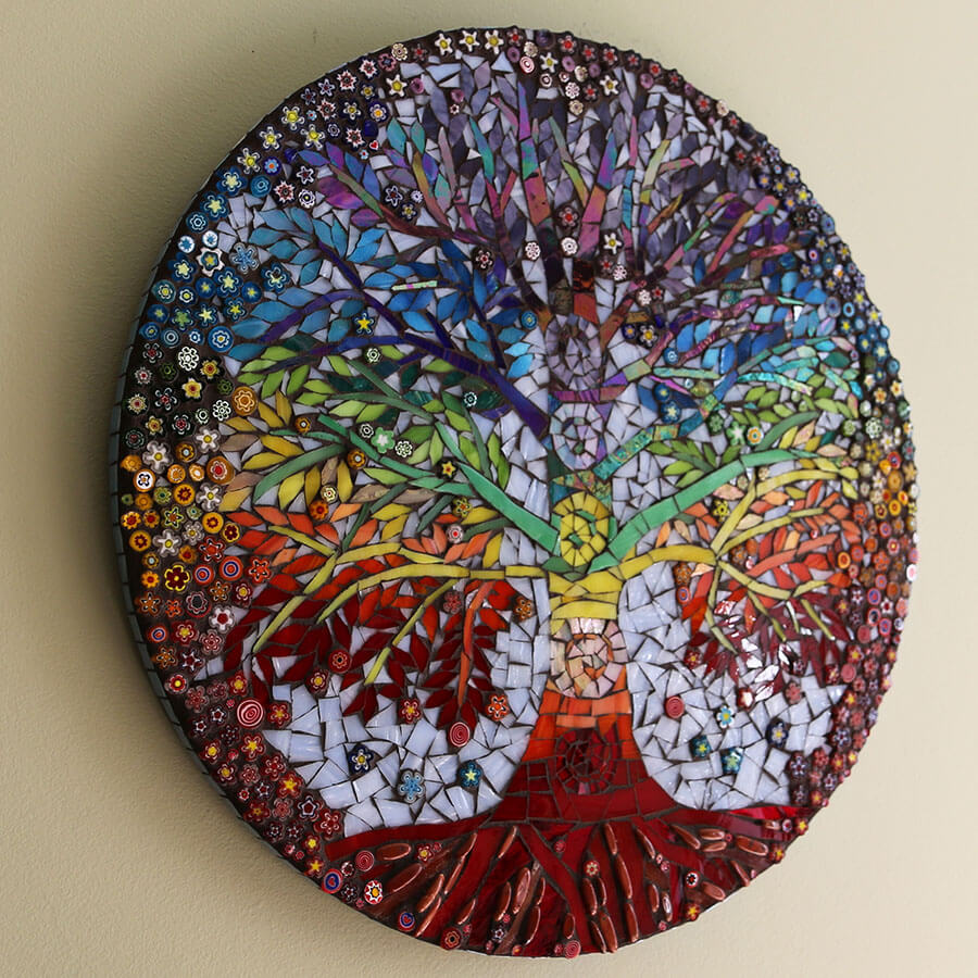 Chakra Tree of Life Mosaic by Betty Ackerman, oblique view.