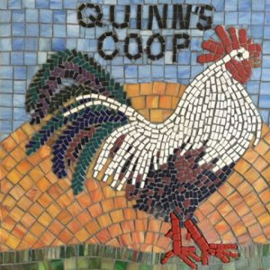 Quinn's Coop Rooster Mosaic pre-grout by artist Linda Lawton.
