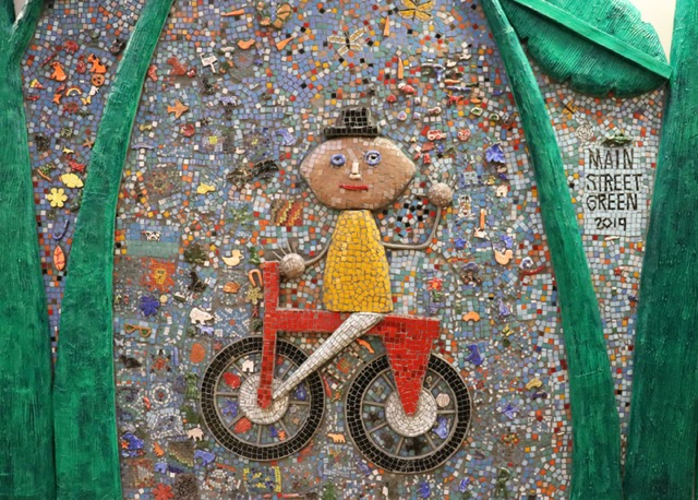 Mosaic Mural Detail Bicycle Kid