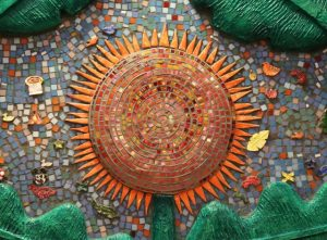 Mosaic Mural Detail Sunflower