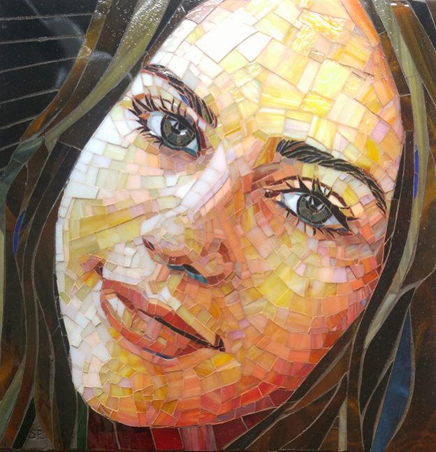 Sunshine Mosaic Portrait by artist Suzanne Coverett Earls.