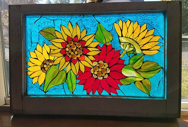 Glass-on-Glass Mosaic Sunflowers by artist Cindy Christensen