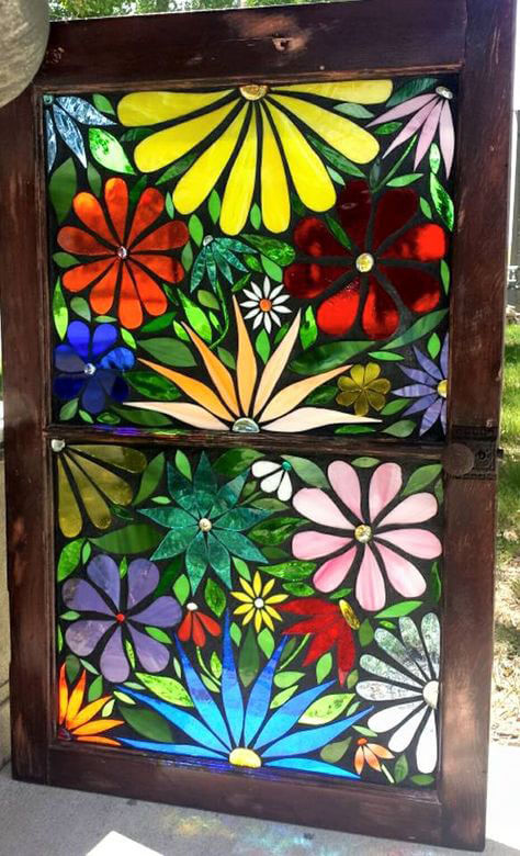 Glass-on-Glass Mosaic Window Flowers by artist Cindy Christensen