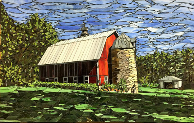 Barn Stained Glass Mosaic Landscape