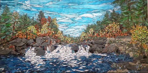 Big Falls Stained Glass Mosaic Landscape