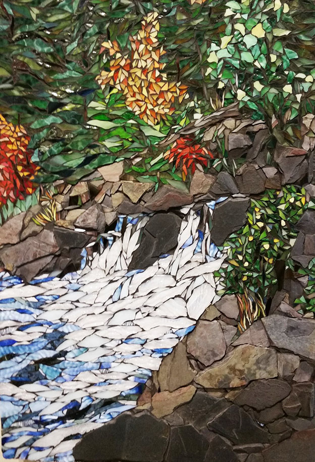 Afternoon at the Falls detail Stained Glass Mosaic