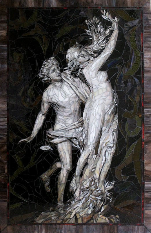 Apollo and Daphne mosaic by artists Sandra and Carl Bryant after sculpture by Bernini.