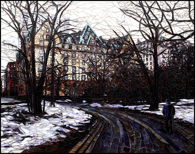 Central Park in Snow mosaic by artists Sandra and Carl Bryant.