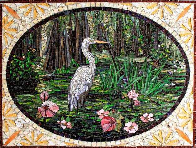 Egret in Swamp mosaic by artists Sandra and Carl Bryant