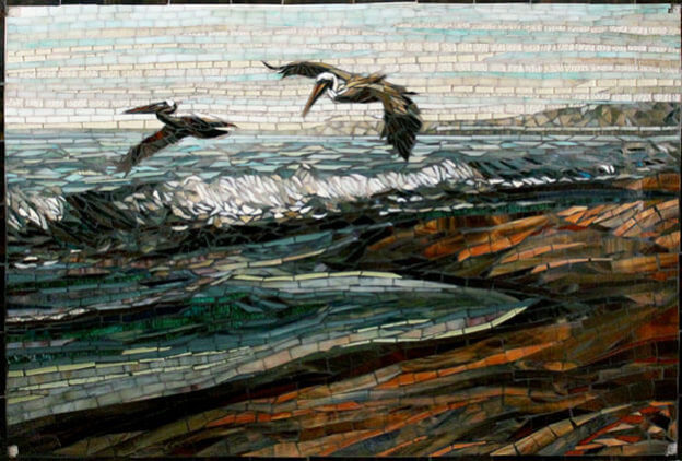 Pelicans mosaic by artists Carl and Sandra Bryant.
