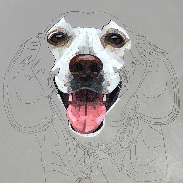 Mosaic Pet Portrait Cali WIP2