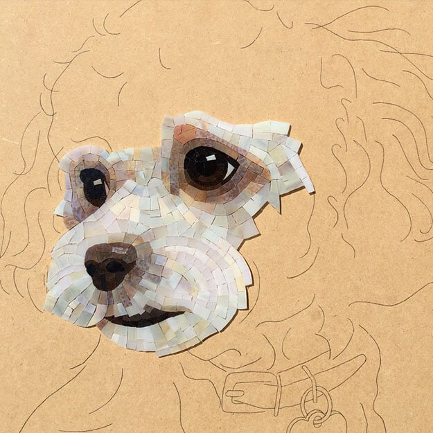 Mosaic Pet Portrait fluffy dog WIP1