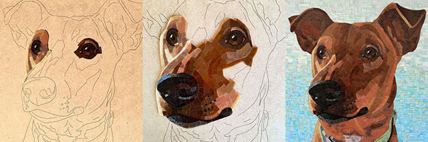 Mosaic Pet Portrait Wasabi progression by artist Donna Van Hooser