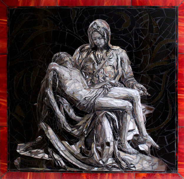 Pieta mosaic by artists Sandra and Carl Bryant after sculpture by Michelangelo