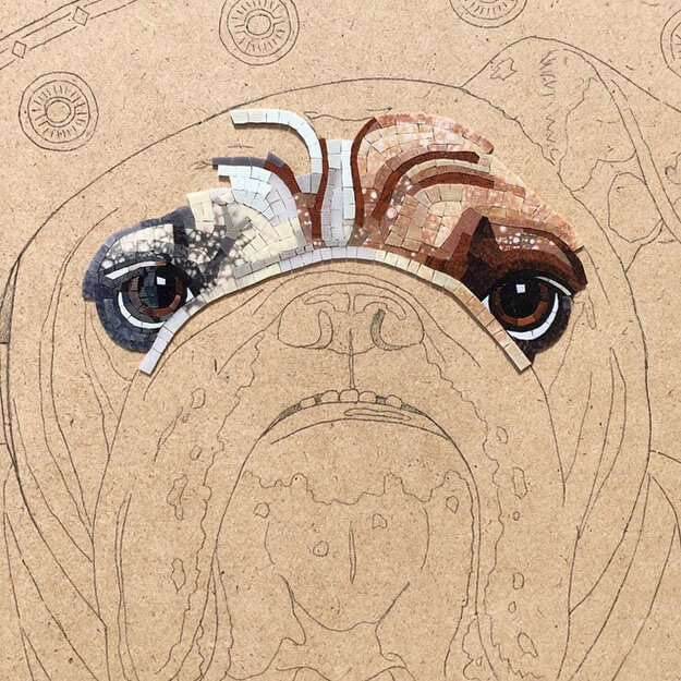Mosaic Pet Portrait English Bulldog WIP1