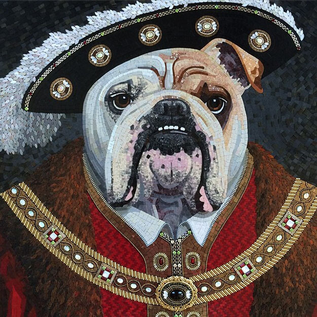 Mosaic Pet Portrait English Bulldog as Henry VIII