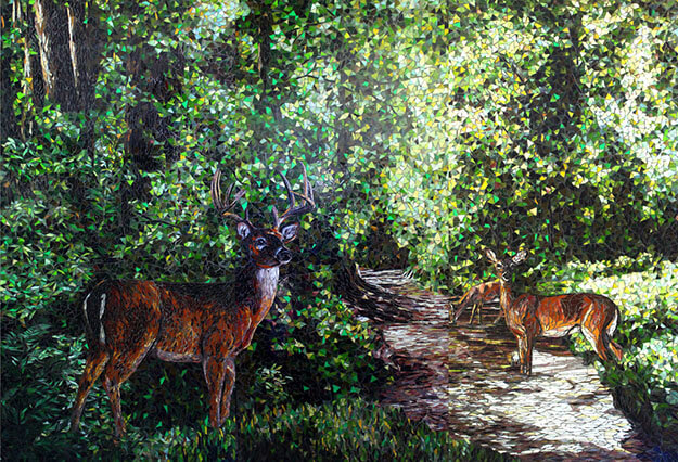 Quiet Forest mosaic by Sandra and Carl Bryant.