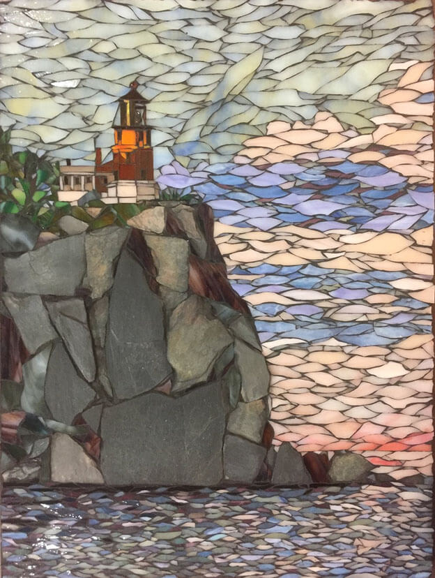 Split Rock Stained Glass Mosaic Landscape