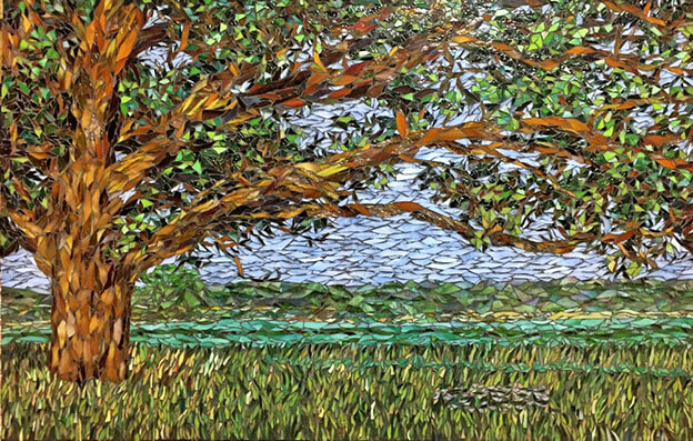 The Oak Stained Glass Mosaic Landscape
