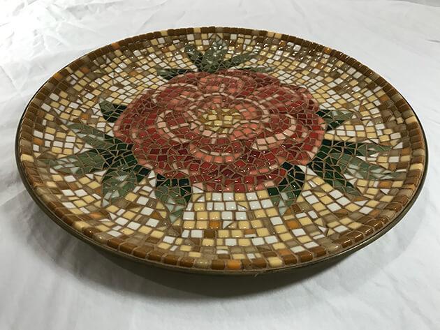 Peony Mosaic Bowl by Susan Klug Kahan, isometric view