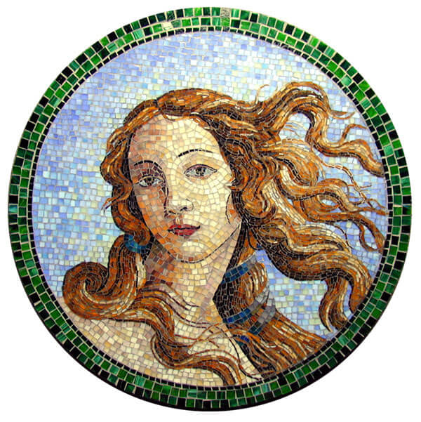 Mosaic Birth of Venus by artist Yulia Hanansen after painting by Botticelli.