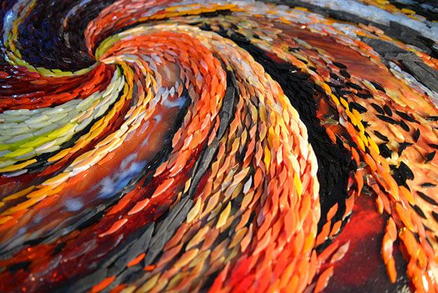 Mosaic Forest Fire Detail by artist Yulia Hanansen