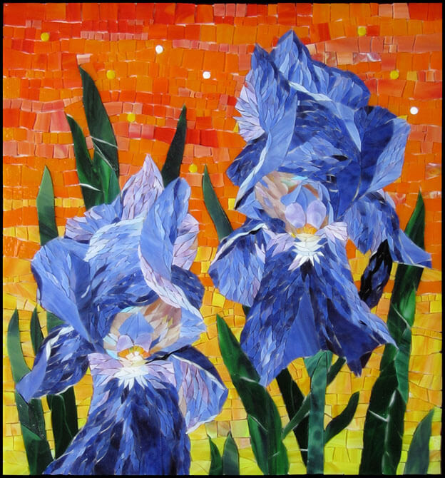 Mosaic Irises Queens of Dawn by artist Yulia Hanansen