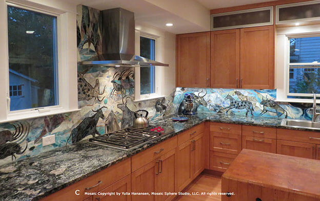 Mosaic Mural Backsplash Epic by artist Yulia Hanansen