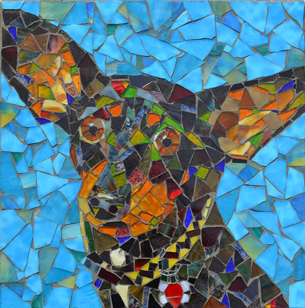 Mosaic Pet Portrait Blue Dog