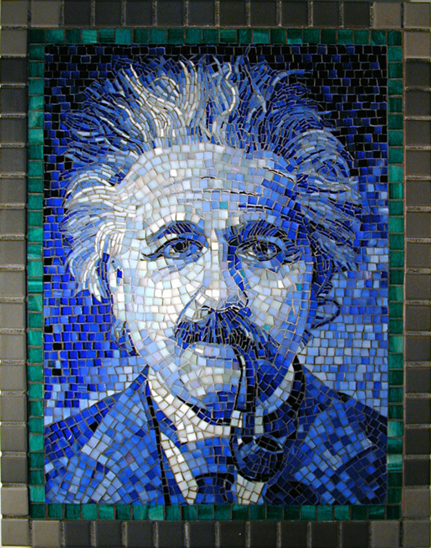 Mosaic Portrait Einstein in Blue by artist Yulia Hanansen