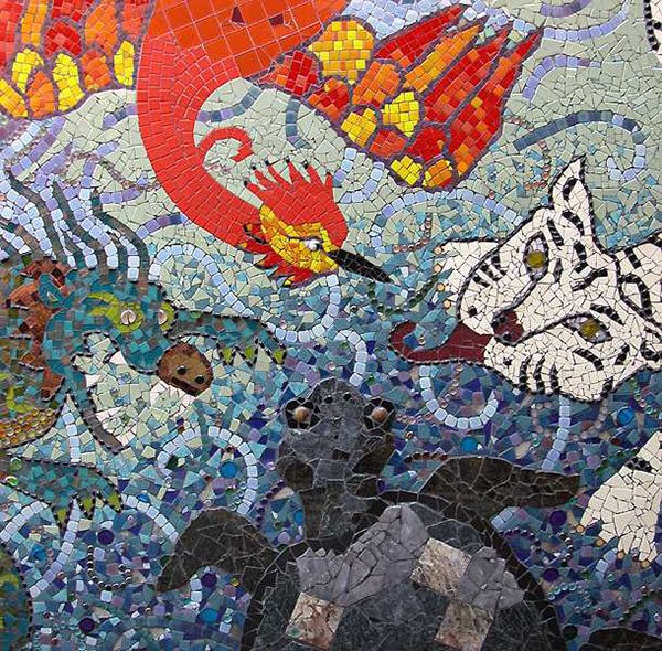 Mosaic Sign Phoenix Dragon Tiger Tortoise