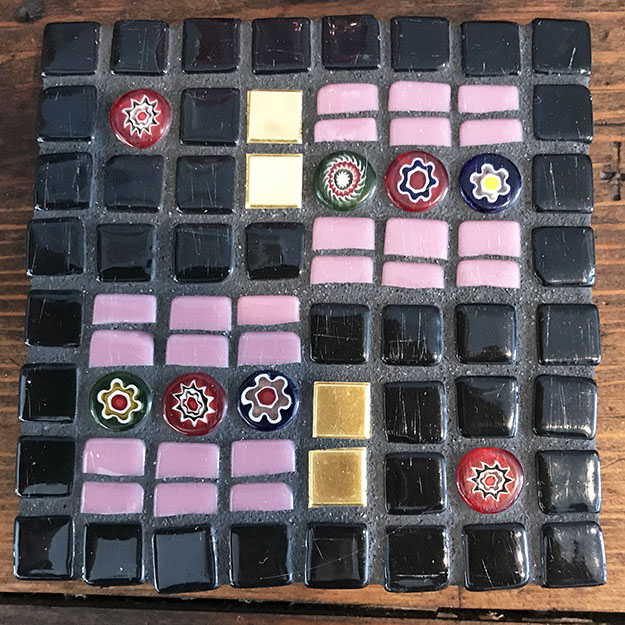 Mosaic Coaster with Scratched Tile by artist Stefi Morrison