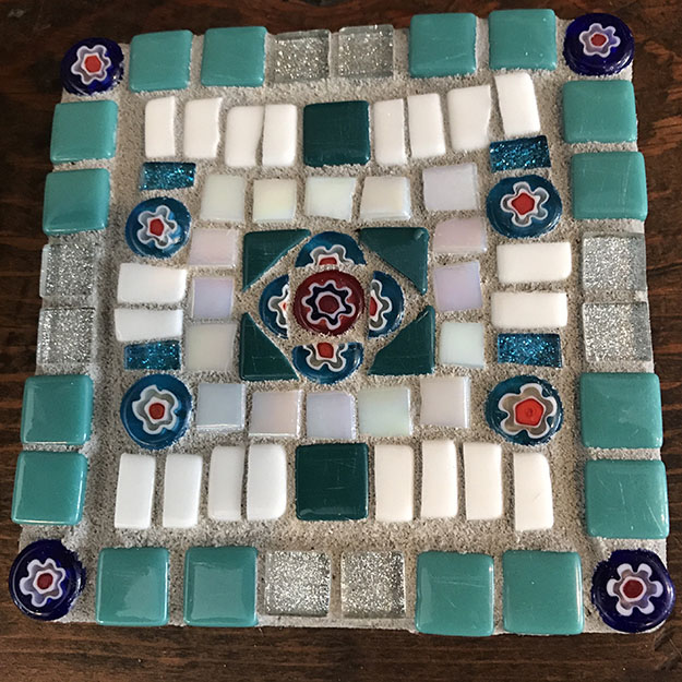 Mosaic Coaster 2 with Scratched Tile by beginner mosaic artist Stefi Morrison