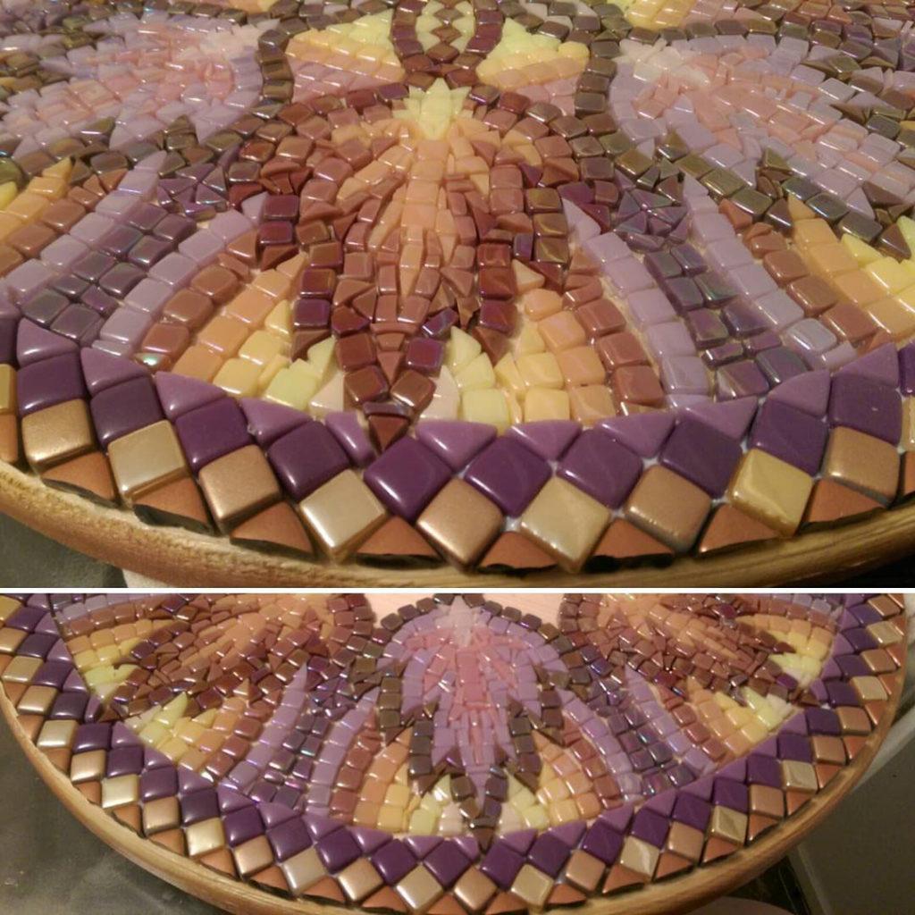 Mosaic Table Top Steph Potter edge detail pre-grout