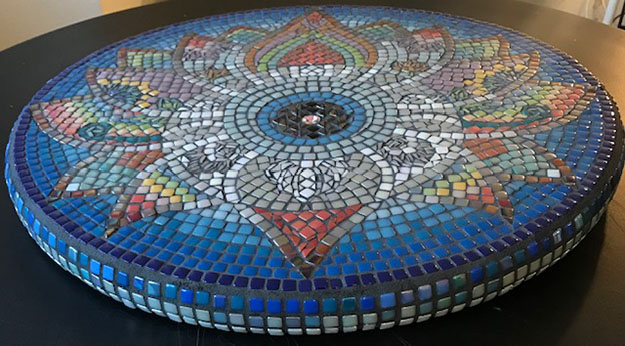 Mosaic Table Top Steph Potter Blue Mandala isometric