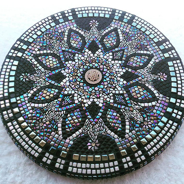 Mosaic Table Top Steph Potter Iridescent Glass Mandala
