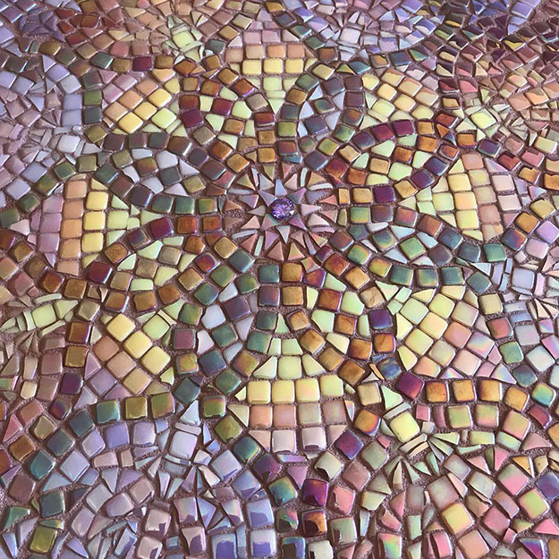 Mosaic Table Top Steph Potter Violet Mandala detail