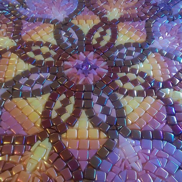 Mosaic Table Top Steph Potter Violet Mandala Pre-Grout