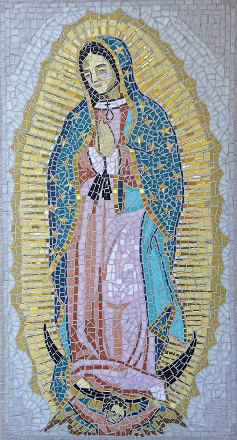 Madre de Guadelupe Mosaic by first-time-mosaicist Irene Clifford daylight photo
