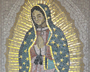 Madre de Guadelupe Mosaic by first-time-mosaicist Irene Clifford detail