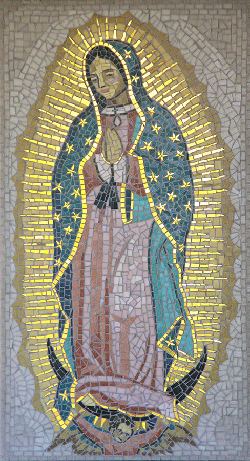 Madre de Guadelupe Mosaic by first-time-mosaicist Irene Clifford