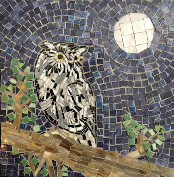 Eastern Screech Owl Mosaic by artist Linda Lawton