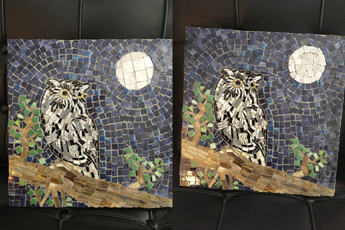 Eastern Screech Owl Mosaic with revised moon. (Note: not yet grouted.)