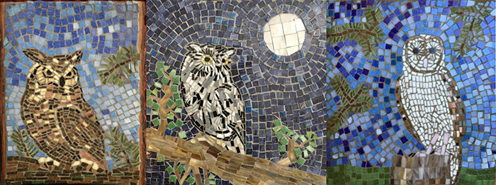 Three Owl Mosaics by artist Linda Lawton. Great Horned Owl, Eastern Screech Owl, Barn Owl