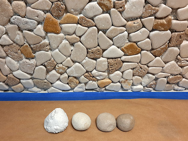 Stone Mosaic Backsplash grout biscuit/slugs test blanks