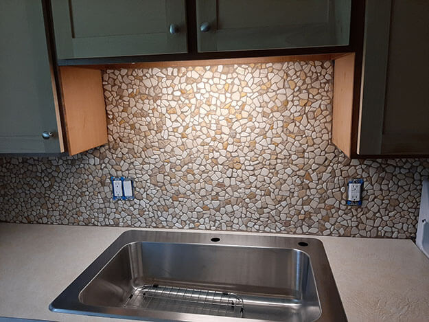 Stone Mosaic Backsplash grouted