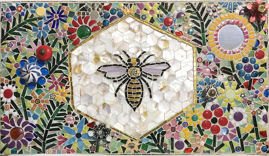 Mixed-Media Mosaic Flower Bee Synergy